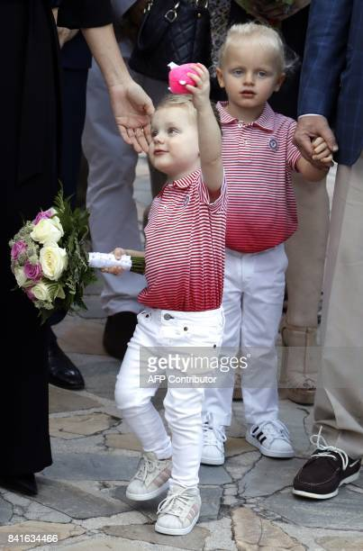 Monaco's twins Prince Jacques and Princess Gabriella take part in the traditional Monaco's picnic in Monaco on September 1 2017 / AFP PHOTO / POOL /...