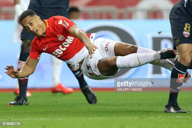 Monaco's Youri Tielemans goes airborne goes airborne during the French L1 football match Monaco vs Dijon on February 16 2018 at the 'Louis II...