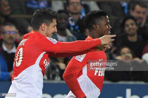 Monaco's Yugoslavian forward Stevan Jovetic celebrates with his teammate Monaco's Spanish forward Keita Balde after scoring a goal during the French...