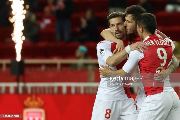 Monaco's Yugoslavian forward Stevan Jovetic celebrates with Monaco's French forward Wissam Ben Yedder and Monaco's Portuguese midfielder Adrien Silva...