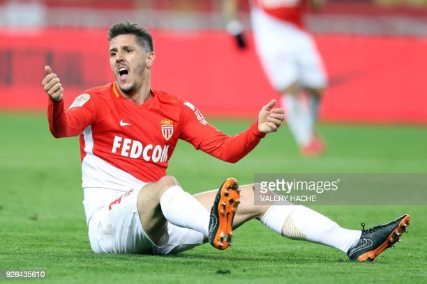 Monaco's Yugoslavian forward Stevan Jovetic reacts during the French L1 football match Monaco vs Bordeaux on March 02 2018 at the 'Louis II Stadium'...