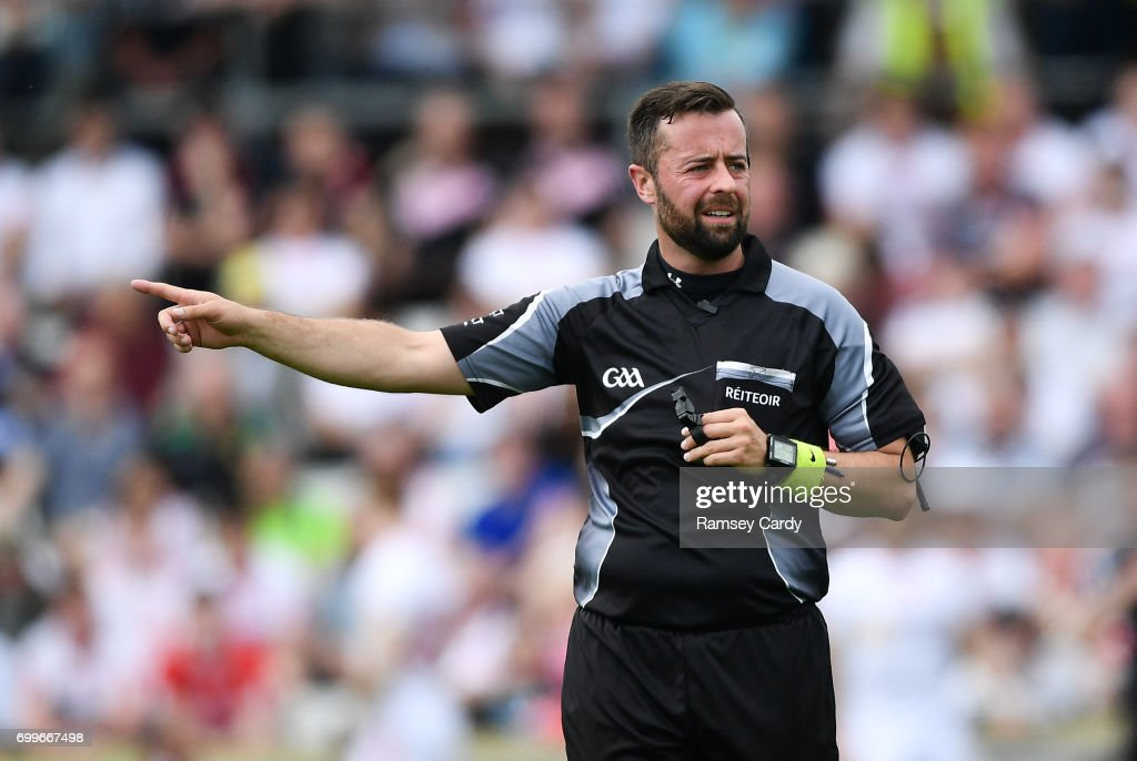 Monaghan , Ireland - 18 June 2017; Referee David Gough during the Ulster GAA Football Senior Championship Semi-Final match between Tyrone and Donegal at St Tiernach's Park in Clones, Co. Monaghan.