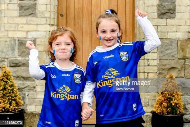 Monaghan Ireland 23 June 2019 Cavan supporters Cavan manager Mickey Graham's daugher Lauren Graham age 5 left with Caoimhe Mulhall age 6 from Cavan...