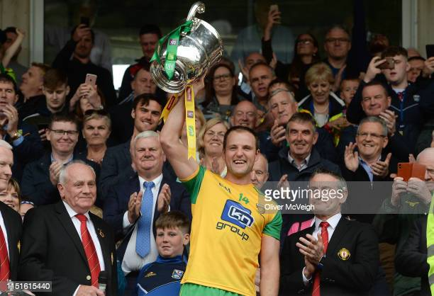 Monaghan Ireland 23 June 2019 Michael Murphy of Donegal holds aloft the Anglo Celt cup after the Ulster GAA Football Senior Championship Final match...