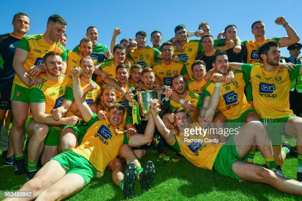 Monaghan Ireland 24 June 2018 The Donegal team celebrate following the Ulster GAA Football Senior Championship Final match between Donegal and...