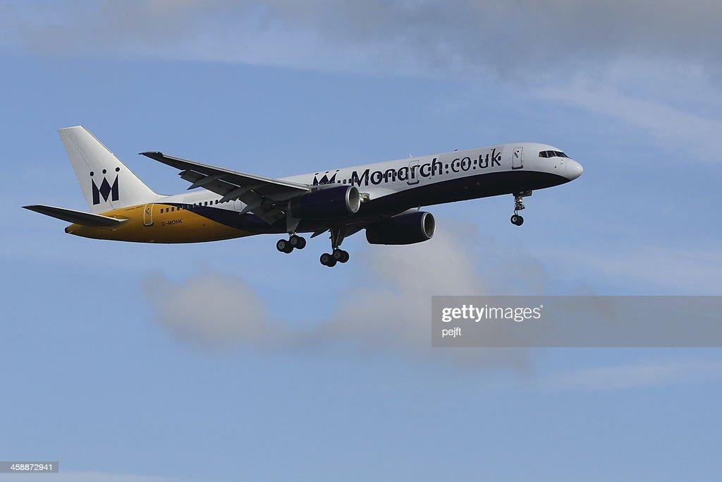 Monarch Boing jet landing at Gatwick Airport : Stock Photo