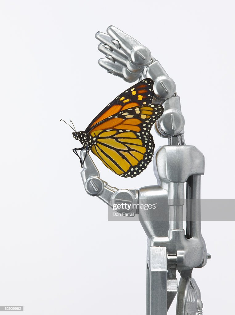 Monarch butterfly and robotic hand : Stock Photo
