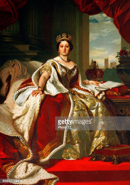 Oil on canvas portrait of a young Queen Victoria Lived between May 1819 January 1901 Monarch of the United Kingdom from 20th June 1837 until her...