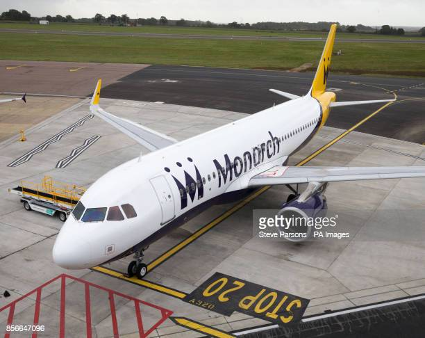 A Monarch plane at Luton Airport after the airline collapsed into administration resulting in future bookings and holidays being cancelled and the...