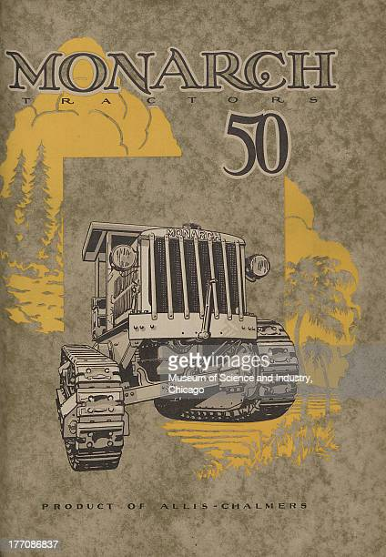 Monarch Tractors Division color illustration of an AllisChalmers Monarch Tractor in the center and a forestry winter scene at the top left and a...