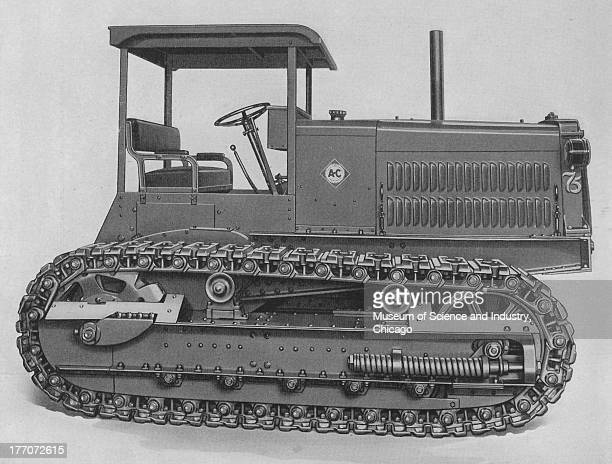 Monarch Tractors Division/AllisChalmers Monarch 75 Track Type black and white image of a side view of the Monarch 75 Tractor emphasizing on the...