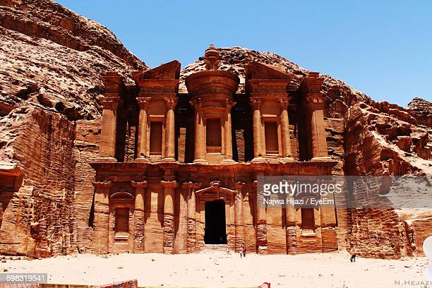 Monastery At Petra Against Clear Blue Sky