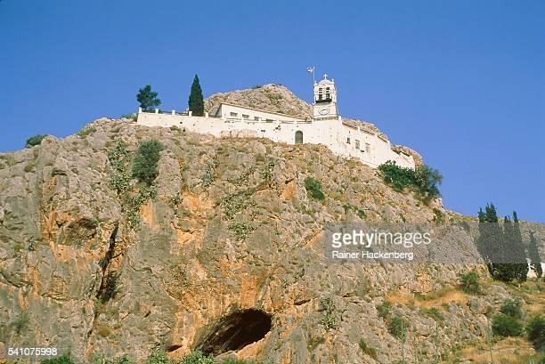 monastery castle mountain in argos, peloponnes, greece - castle mountain stock photos and pictures