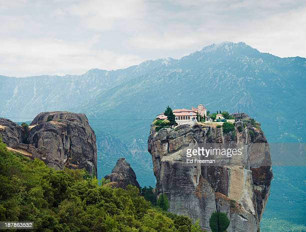 monastery in the meteora, greece - greek orthodoxy stock pictures, royalty-free photos & images