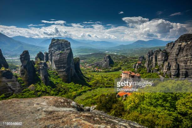 monastery in the valley of meteora in greece - meteora stock pictures, royalty-free photos & images