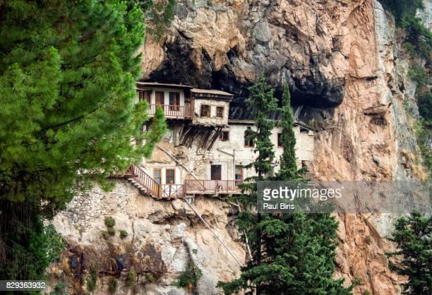 monastery of agiou ioanni prodromou, lousios gorge,  arcadia, greece - peloponnese stock photos and pictures