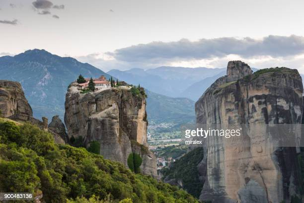 monastery of holy trinity after sunset - meteora stock pictures, royalty-free photos & images