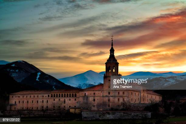 Monastery of San Millan de la Cogolla at dawn, La Rioja, Spain