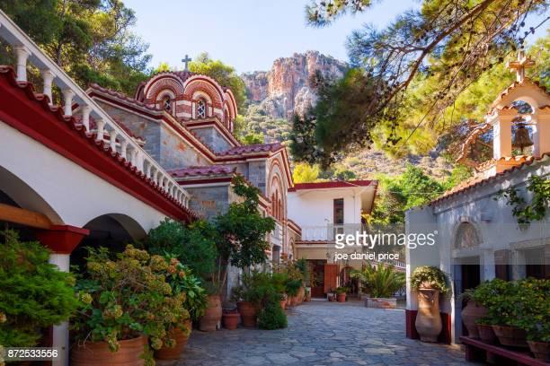 monastery of st. george selinari, káto elounda, crete, greece - creta fotografías e imágenes de stock