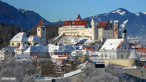 Monastery of St. Mang and High Castle, Hohes Schloss, Fuessen, Swabia, Bavaria, Germany