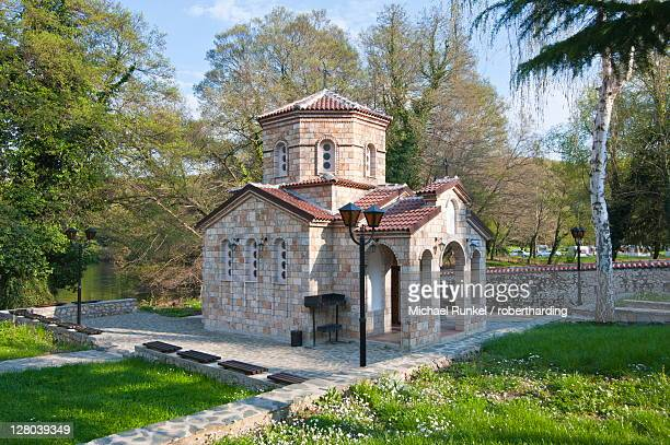 monastery of st. naum at lake ohrid, unesco world heritage site, macedonia, europe - lake ohrid stock photos and pictures