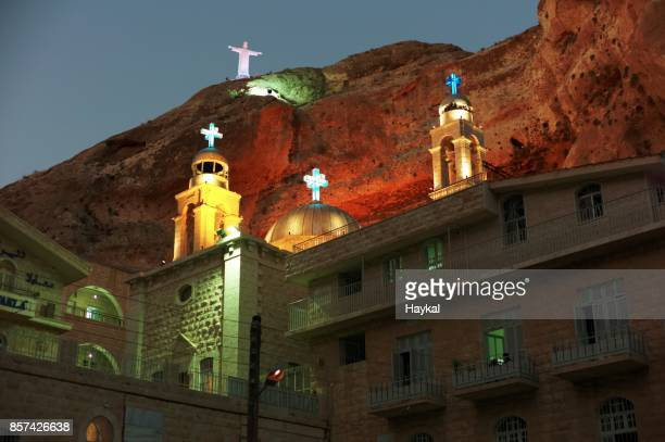 monastery saint takla - damascus stock pictures, royalty-free photos & images