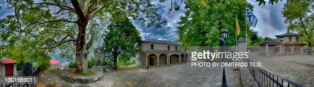 monastery stone village panorana - dimitrios tilis stock pictures, royalty-free photos & images