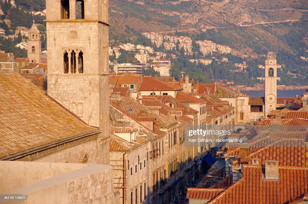 Monastery tower, The Stradun, Dubrovnik, Croatia : Foto de stock