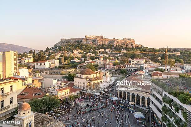Monastiraki square and Acropolis. Athens, Greece