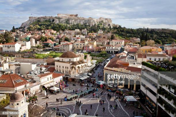 Monastiraki square and Acropolis. Athens, Greece
