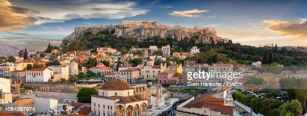 monastiraki square and plaka against sky during sunset - parthenon athens stock pictures, royalty-free photos & images