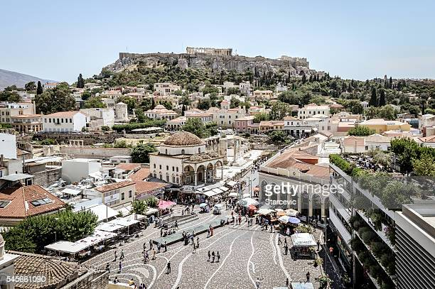 Monastiraki Square and Plaka in Athens, Greece