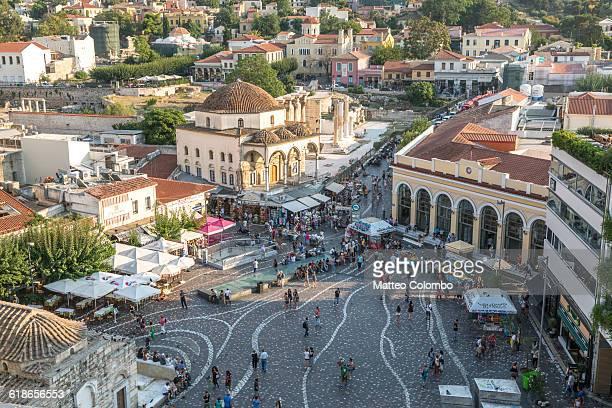 Monastiraki square full of tourist, Athens, Greece