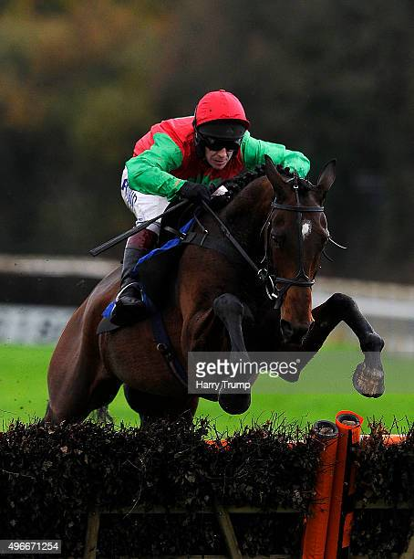 Monbeg Gold ridden by Richard Johnson jumps the last to win the Thank you to Veterans and Serving Military Handicap Hurdle at Exeter Racecourse on...