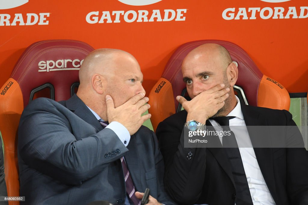 Monchi, Alex Zecca during the Italian Serie A football match between A.S. Roma and F.C. Hellas Verona at the Olympic Stadium in Rome, on september 16, 2017.