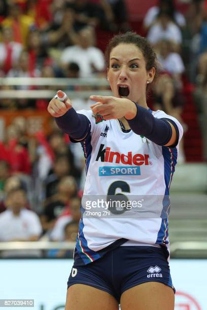 Moncia De Gennaro of Italy celebrates a point during the final match between Brazil and Italy during 2017 Nanjing FIVB World Grand Prix Finals on...