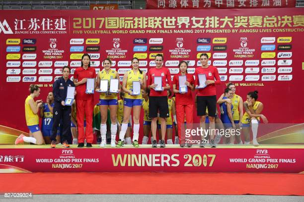 Moncia De Gennaro of Italy Ting Zhu of China Natalia Pereira of Brazil Ana Beatriz Correa of Brazil Milena Rasic of Serbia Xia Ding of China and...