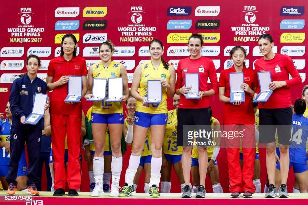 Moncia De Gennaro of Italy#12 Natalia Pereira#20 Ana Beatriz Correa of Brazil#16 Milena Rasic and Tijana Boskovic of Serbia#16 Ding Xia of China...