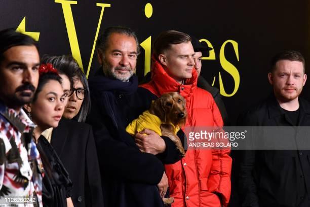 Moncler CEO Remo Ruffini poses with fashion designers Veronica Leoni , Simone Rocha , Craig Green , Matthew M. Williams , Hiroshi Fujiwara and...