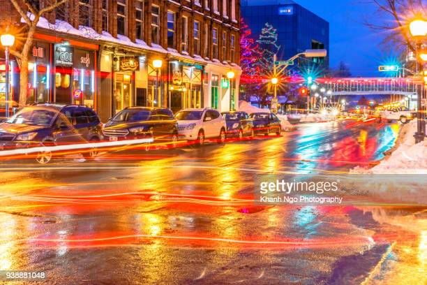moncton city at night - moncton stock photos and pictures