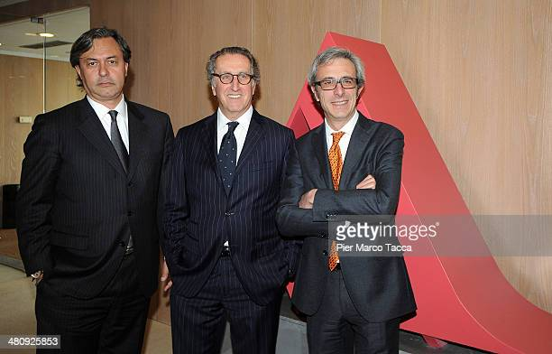 Mondadori Book Trade Director Riccardo Cavallero CEO of Mondadori Group Ernesto Mauri and Federico Rampolla pose for a photo during the Mondadori...