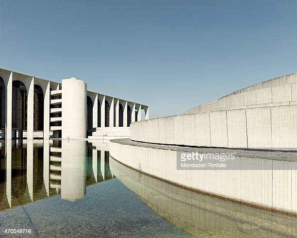 'Mondadori Building by Oscar Niemeyer 19681975 20th Century concrete and glass Italy Lombardy Segrate Detail On the left a partial view of Mondadori...