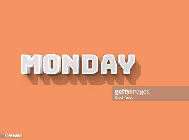 monday 3d text in pink background - monday stock pictures, royalty-free photos & images