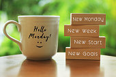Monday concept with morning coffee cup - New Monday. New week. New start. New Goals.