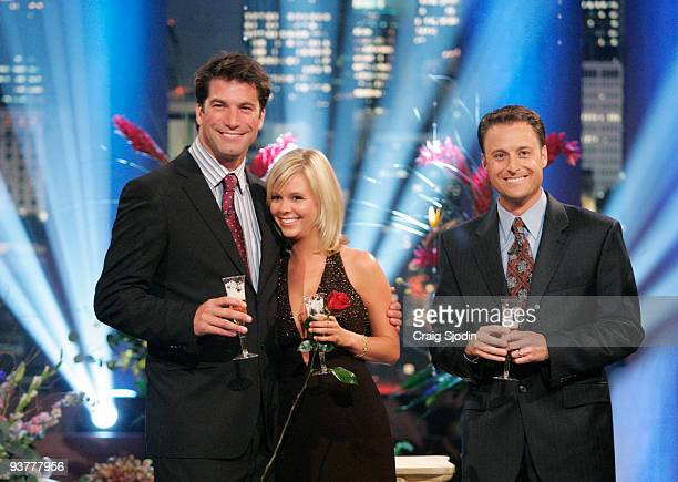 BACHELOR Monday May 16 2005 Charlie O'Connell Sarah B and Chris Harrison celebrated with a champagne toast on 'The Bachelor Final Rose Live' Viewers...