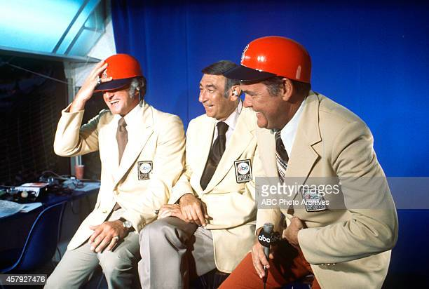 ABC SPORTS 'Monday Night Baseball' 6/16/77 ABC Sports commentators Bob Uecker Howard Cosell and Keith Jackson shared a laugh at Fenway Park during...