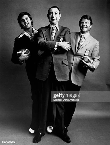 Monday Night Football commentators Don Meredith Howard Cosell and Frank Gifford pose for a portrait in their ABC Sports jackets circa 1971