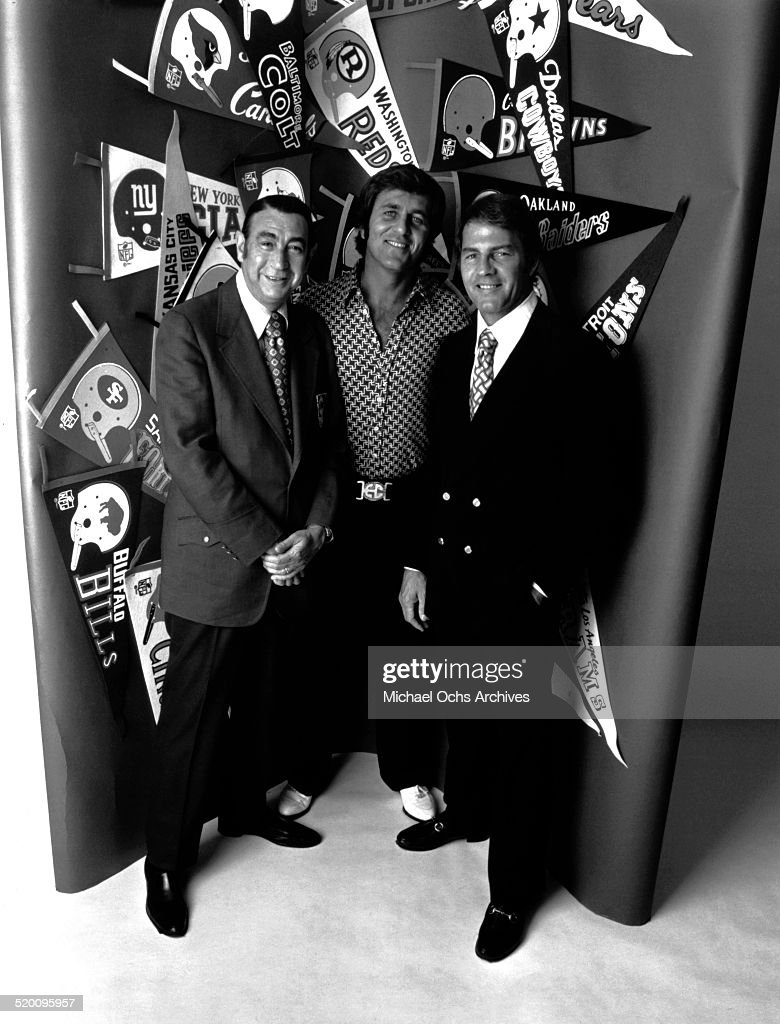 Monday Night Football commentators Howard Cosell, Don Meredith and Frank Gifford pose for a portrait circa 1972.