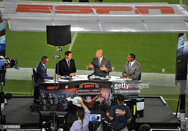 Monday Night Football commentators set up near the field before the Miami Dolphins play against the Tampa Bay Buccaneers November 11 2013 at Raymond...