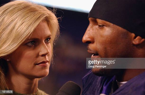 Monday Night Football reporter Melissa Stark interviews linebacker Ray Lewis of the Baltimore Ravens after the NFL Monday Night Football game against...